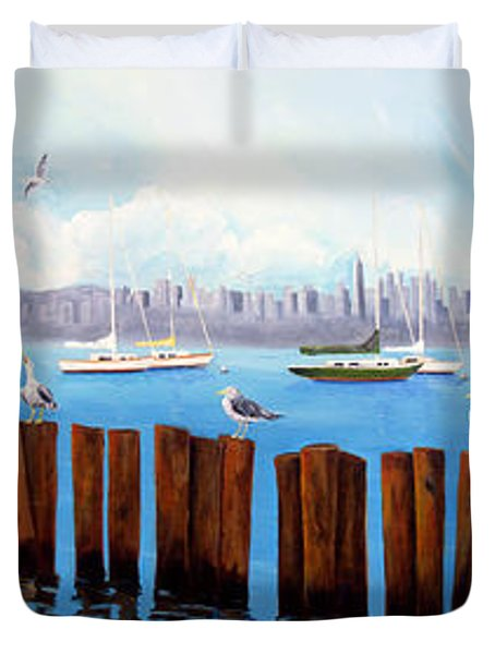 View From The Moshier's Tiki Bar Duvet Cover