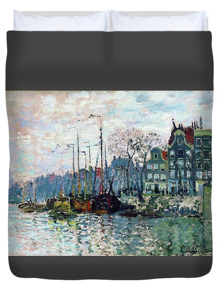 View Of The Prins Hendrikkade And The Kromme Waal In Amsterdam - Digital Remastered Edition Duvet Cover