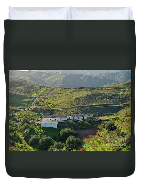 Village Hidden In The Mountains Duvet Cover