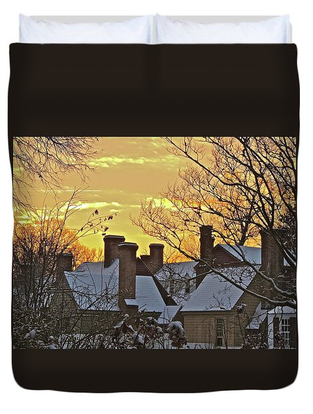 Duvet Cover featuring the photograph Village Morning by Don Moore