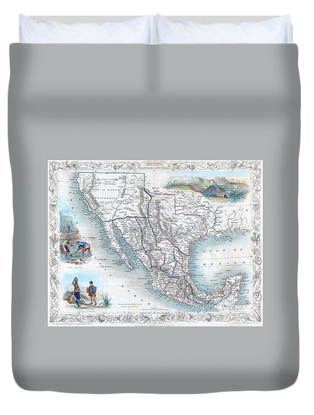 Vingage Map Of Texas, California And Mexico Duvet Cover