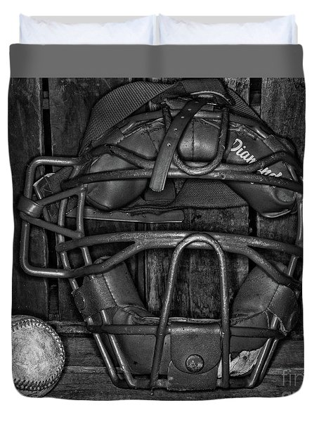 Vintage And Worn Baseball Catchers Mask Black And White Duvet Cover