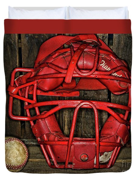 Vintage And Worn Baseball Catchers Mask Duvet Cover