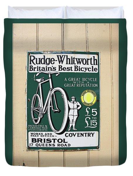 Vintage Bicycle Advertisment Duvet Cover