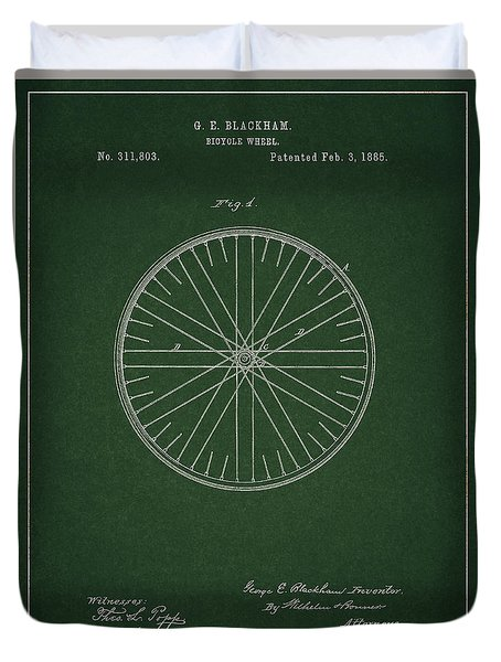 Duvet Cover featuring the drawing Vintage Bicycle Tire Patent by Dan Sproul
