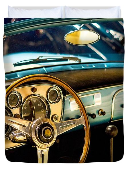 Duvet Cover featuring the photograph Vintage Blue Car by Top Wallpapers