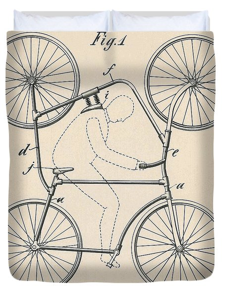 Vintage Blueprint Double Bicycle For Looping The Loop, 1905 Duvet Cover