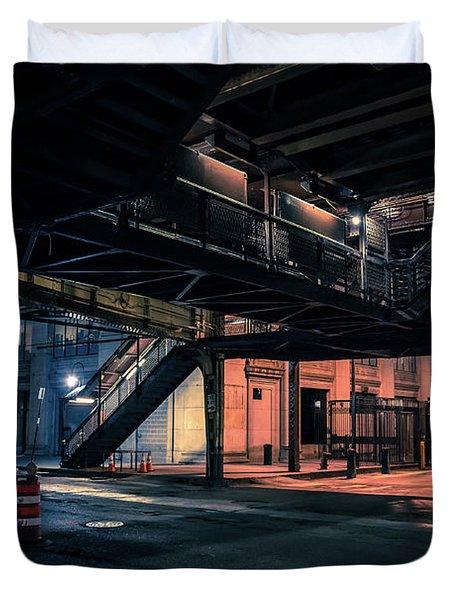 Vintage Chicago L Station At Night Duvet Cover