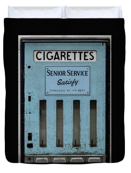 Duvet Cover featuring the photograph Senior Service Vintage Cigarette Vending Machine by Scott Lyons