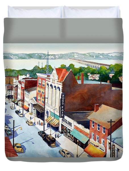 Vintage Color, Columbia Rooftops Duvet Cover