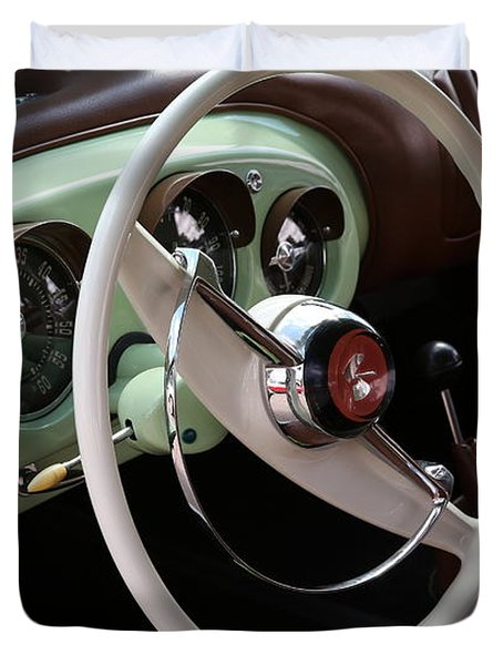 Duvet Cover featuring the photograph Vintage Kaiser Darrin Automobile Interior by Debi Dalio