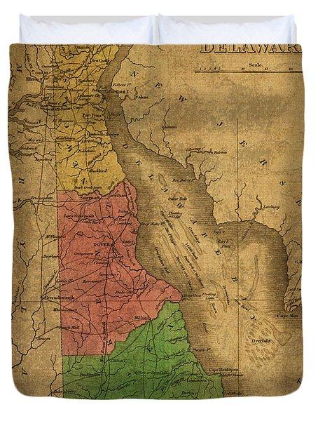Vintage Map Of Delaware 1827 Duvet Cover