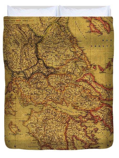 Vintage Map Of Greece 1903 Duvet Cover