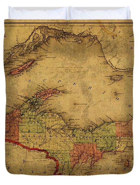 Vintage Map Of Michigan Upper Peninsula And Lake Superior 1873 Duvet Cover