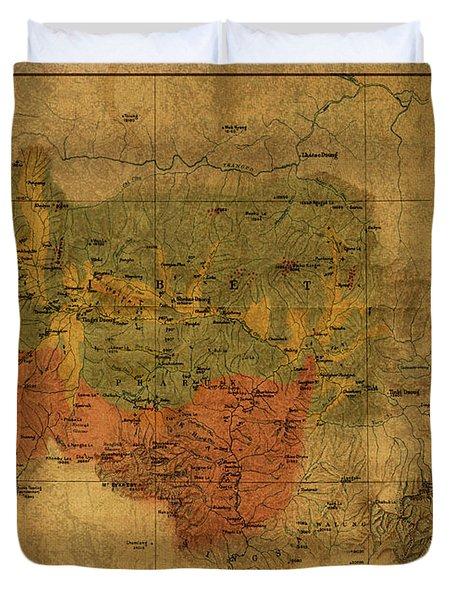 Vintage Map Of Mount Everest Region 1921 Duvet Cover