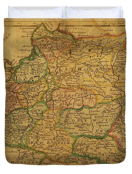 Vintage Map Of Poland 1731 Duvet Cover