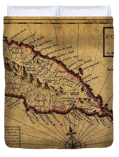 Vintage Map Of St Kitts 1736 Duvet Cover