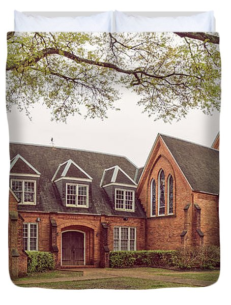 Vintage Panorama Of Christ Episcopal Church In Nacogdoches - East Texas Piney Woods Duvet Cover
