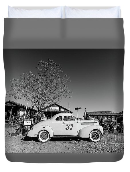 Vintage Race Car Gold King Mine Ghost Town Duvet Cover