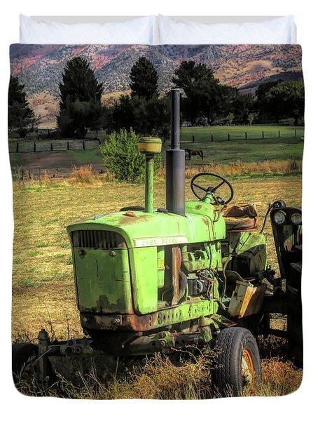 Vintage Tractor In Honeyville Duvet Cover