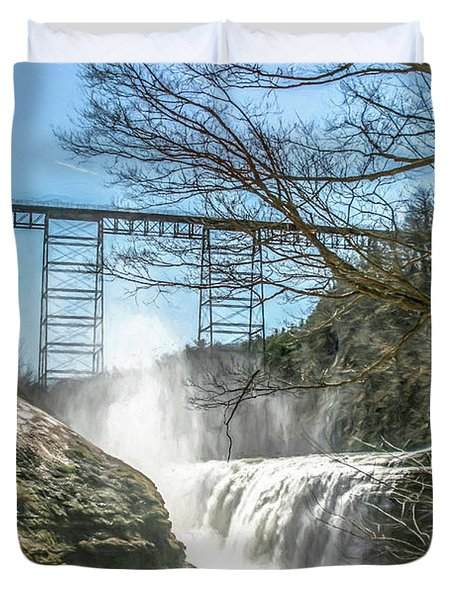 Vintage Train Trestle With Waterfalls Duvet Cover