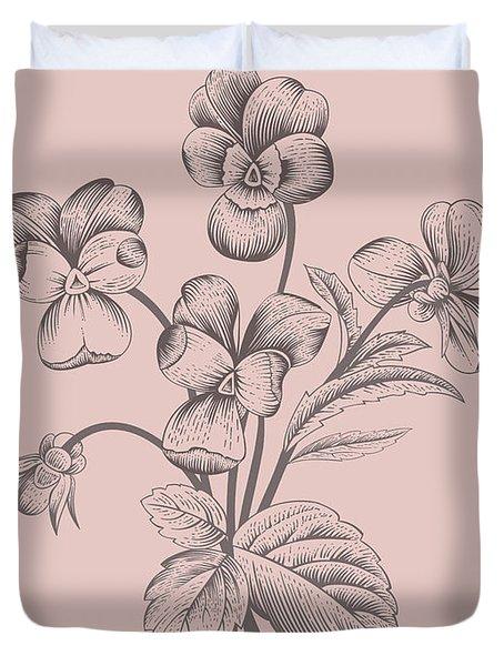Violet Blush Pink Flower Duvet Cover
