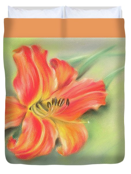 Vivid Orange Daylily Duvet Cover