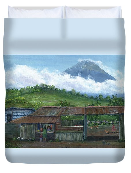 Volcano Agua, Guatemala, With Fruit Stand Duvet Cover