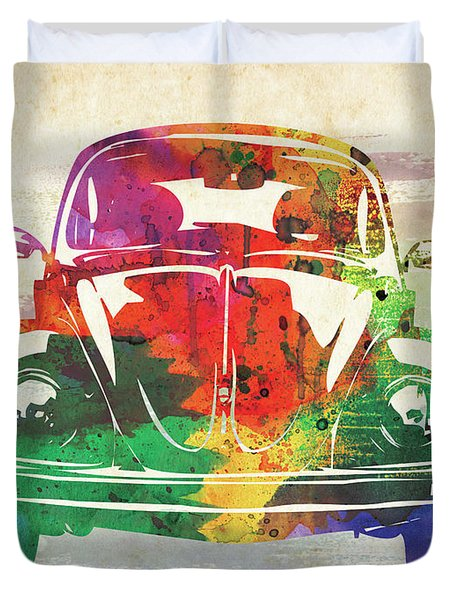 Vw Old Beetle Colorful Watercolor Duvet Cover