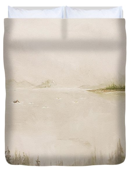 Duvet Cover featuring the painting Waiting For The Eagle To Come by James Andrews