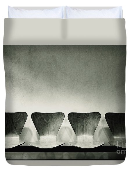 Waiting Room With Empty Wooden Chairs, Concept Of Waiting And Passage Of Time, Black And White Image, Free Space For Text. Duvet Cover