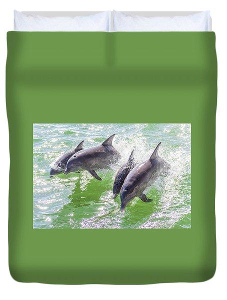Wake Surfing Dolphin Family Duvet Cover