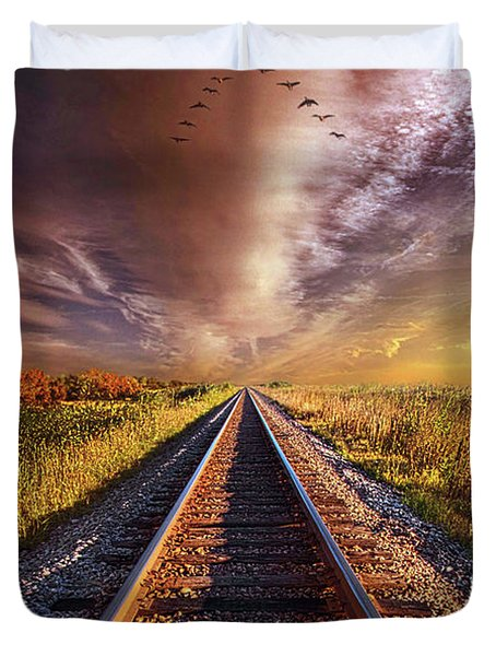 Duvet Cover featuring the photograph Walk The Line by Phil Koch
