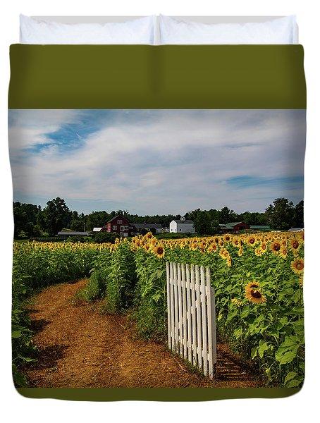 Walk Through The Sunflowers Duvet Cover