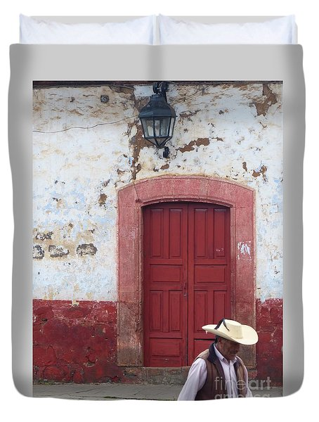 Duvet Cover featuring the photograph Walking By In Patzcuaro by Rosanne Licciardi