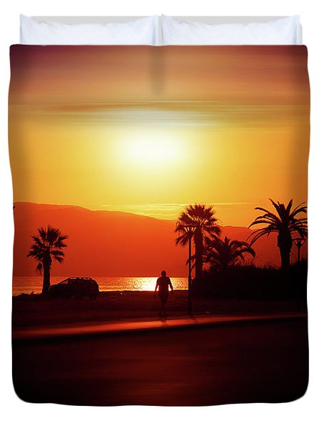 Duvet Cover featuring the photograph Walking Down The Street On Sunset by Milena Ilieva