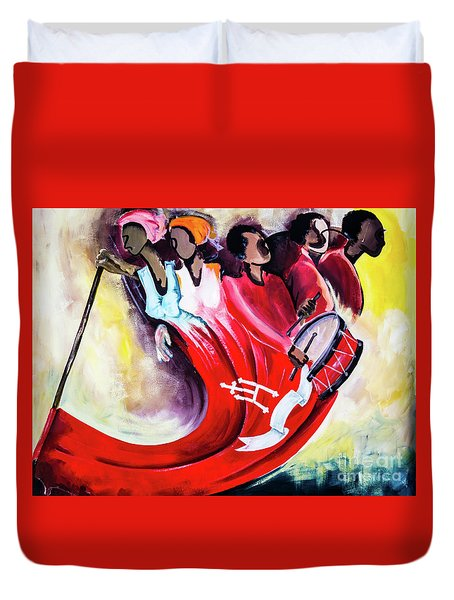 Wall Painting In Fogo, Cape Verde Duvet Cover
