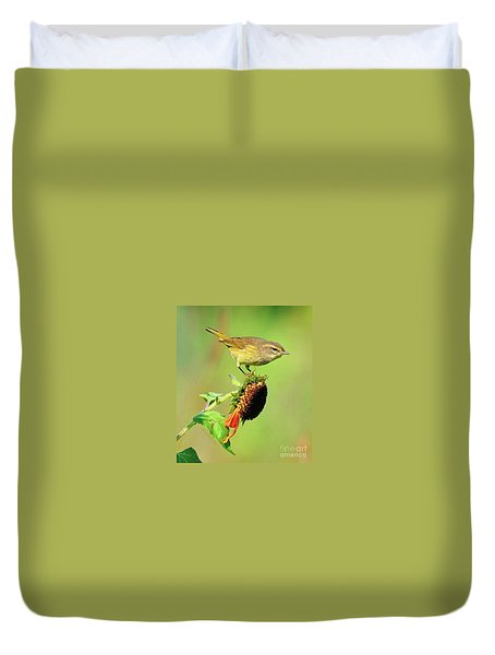 Duvet Cover featuring the photograph Warbler by Debbie Stahre