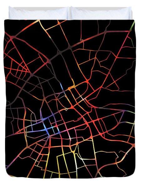 Warsaw Poland Watercolor City Street Map Dark Mode Duvet Cover
