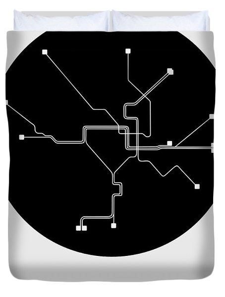 Washington D.c. Black Subway Map Duvet Cover