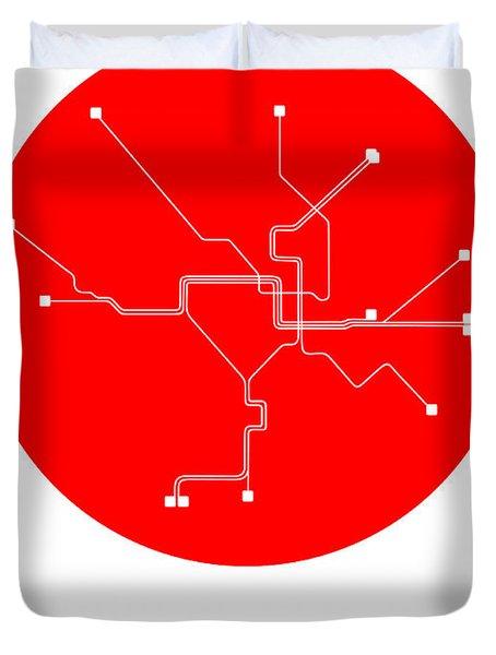 Washington D.c. Red Subway Map Duvet Cover