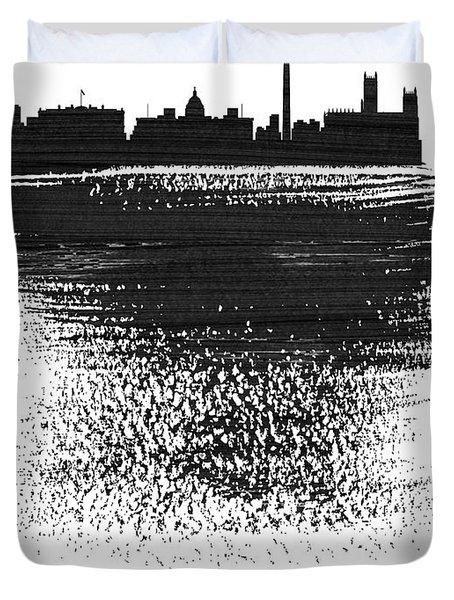 Washington, D.c. Skyline Brush Stroke Black Duvet Cover