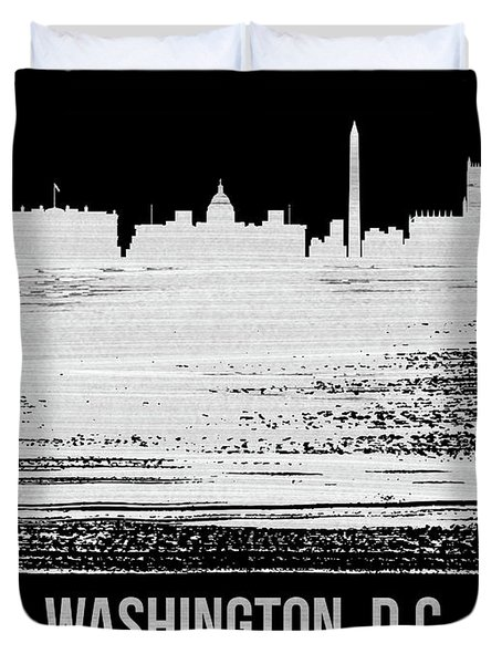 Washington, D.c. Skyline Brush Stroke White Duvet Cover