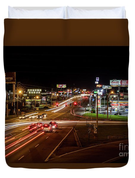 Washington Road At Night - Augusta Ga Duvet Cover