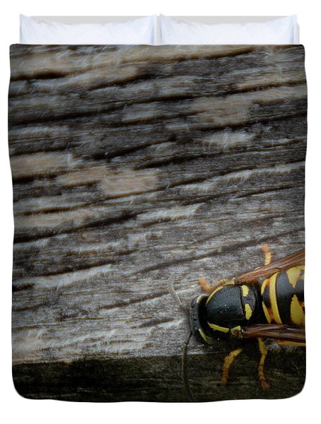 Wasp On Wood Duvet Cover