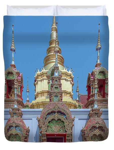 Duvet Cover featuring the photograph Wat Ban Kong Phra That Chedi Base Dthlu0502 by Gerry Gantt