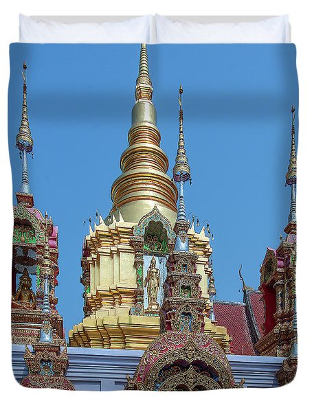 Duvet Cover featuring the photograph Wat Ban Kong Phra That Chedi Brahma And Buddha Images Dthlu0501 by Gerry Gantt