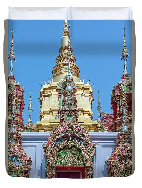 Duvet Cover featuring the photograph Wat Ban Kong Phra That Chedi Window Dthlu0504 by Gerry Gantt