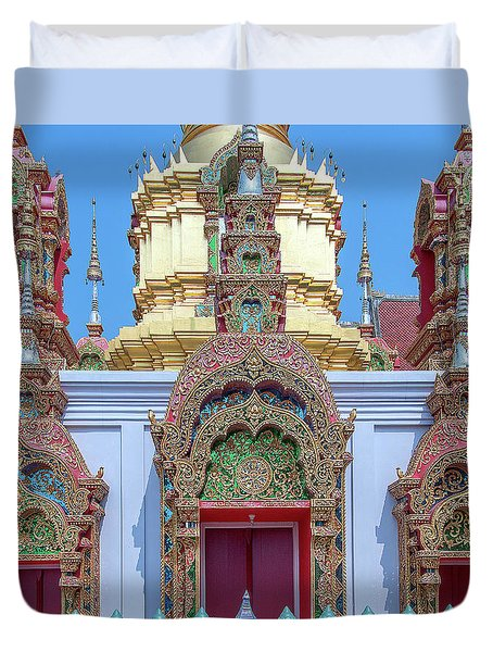 Duvet Cover featuring the photograph Wat Ban Kong Phra That Chedi Windows Dthlu0503 by Gerry Gantt