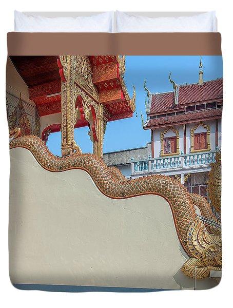 Duvet Cover featuring the photograph Wat Chai Mongkon Phra Ubosot Makara And Naga Guardian Dthlu0396 by Gerry Gantt